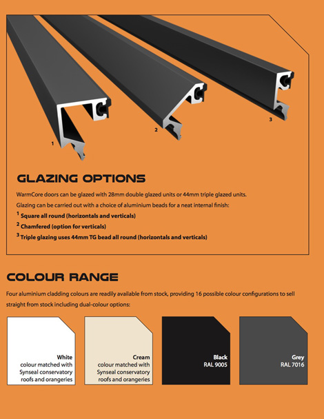 Warmcore Glazing options and colours